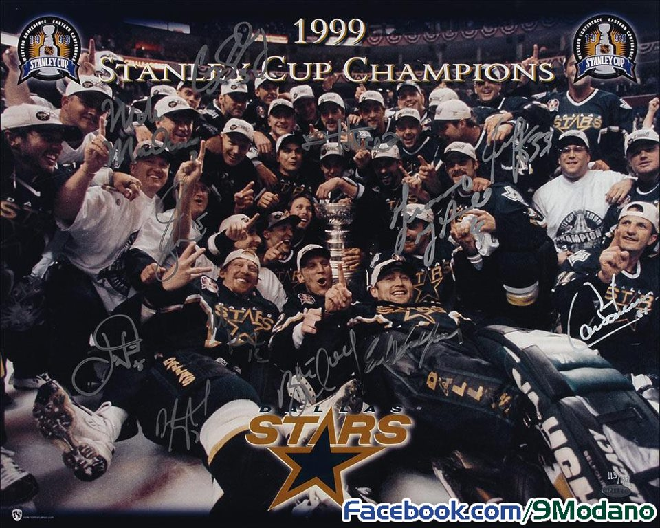 Mike Modano and Dallas Stars 1999 Stanley Cup Championship Pic
